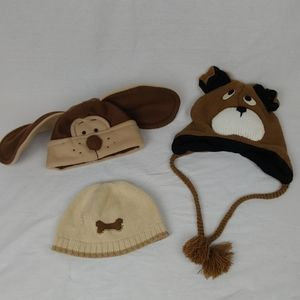 Lot of 3 Hats Baby Toddler Puppy Dog Knit Fleece